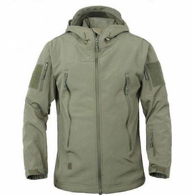 Mens Bomber Jacket Soft Shell Military Tactical Coat Hoodie Hunting Windbreaker