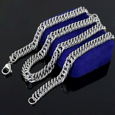5pcs in bulk Stainless Steel 9mm Double Curb chain necklace High Quality Silver