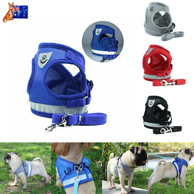Pet Walking Harness and Lead Adjustable Reflective Strap Vest Fit Dog Cat AU NEW