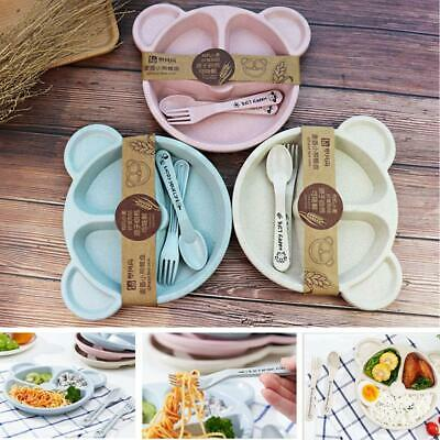 Cartoon Cute Wheat Straw Children Divided Toddler Plates Kids Tableware EN24H 06