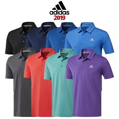 Adidas 2019 Mens Ultimate 365 2.0 Solid Logo Chest Short Sleeve Golf Polo Shirt