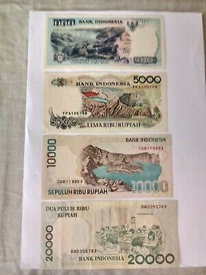 Indonesia set of 4 Banknotes In AUNC. Ideal For An Avid Collector