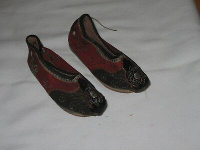 LOTUS SHOES Antique Chinese China QING Embroidered Slippers (Q152)