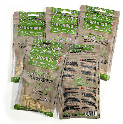 1000 Greengo Biodegradable organic ECO unbleached Slim 6mm filter tips