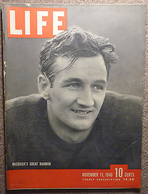MICHIGAN WOLVERINES Football TOM HARMON LIFE MAGAZINE NOV 11 1940 GO BLUE MAIZE