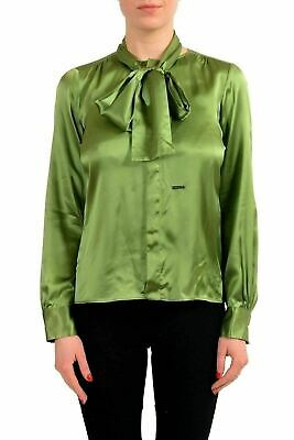 449a5a8d Dsquared2 100% Silk Green Button Down Long Sleeve Women's Shirt US XS IT 38