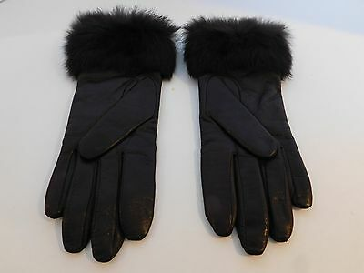 **Fownes Ladies Brown Leather Gloves Cashmere Lining Fur Trim Size 7