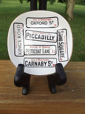 Weatherby Hanley England Royal Falcon Ware Dish Street Signs London Gold Trim