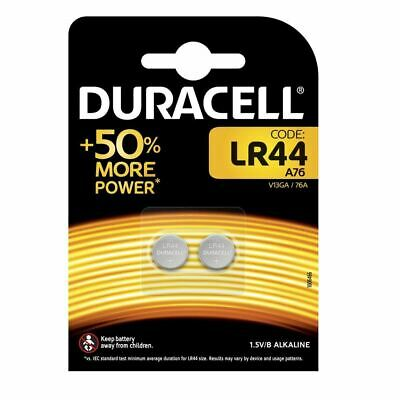2 x Duracell LR44 1.5V Alkaline Button Cell Batteries LR 44 A76 AG13 357 SR44