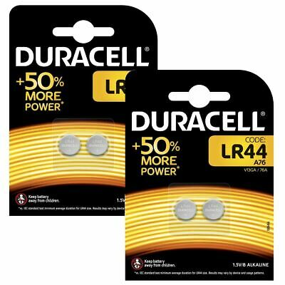 4 x Duracell LR44 1.5V Alkaline Button Cell Batteries LR 44 A76 AG13 357 SR44