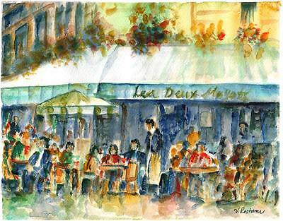 """A571-ORIGINAL WATERCOLOR PAINTING, """"Paris Cafe"""",Gift idea travel birthday aceo"""