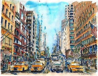 """A559-ORIGINAL WATERCOLOR PAINTING, """"NYC rush hour"""",Gift idea taxi birthday aceo"""