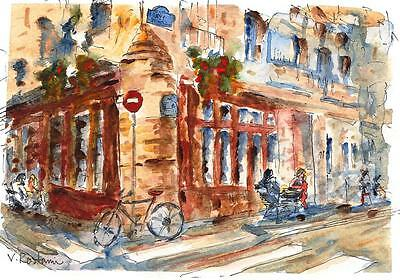 """A524-ORIGINAL WATERCOLOR PAINTING, """"Paris Cafe"""",Gift Idea Europe Travel ACEO"""