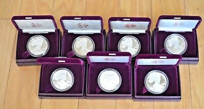 1986-1992 S Proof Silver Eagles with Original Boxes and COAs-The Legendary Seven