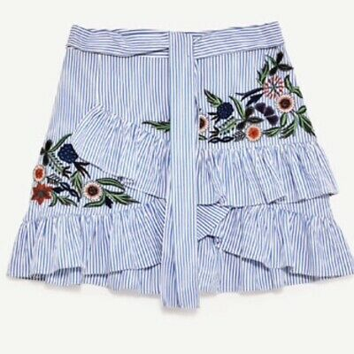 b6658bd1 ZARA WOMEN'S BOHO Blue/White Striped Tiered Floral Embroidered Mini Skirt,  Large