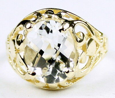 SILVER TOPAZ 10k Yellow Gold Ladies Ring -Handmade • R004