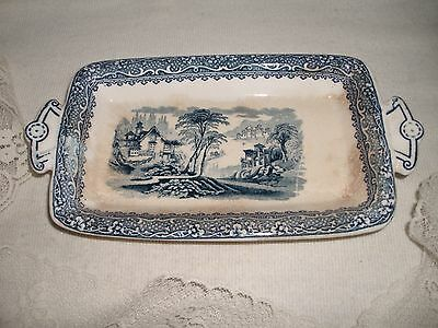 Antique Beautiful Oriental Blue-White Porcelain 2 Handle Rectangle Plate  9""