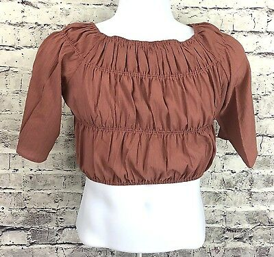 5f9ea34aa21 Nasty Gal Womens Size 4 Crop Top Off the Shoulder Ruched Textured Bardot NWT