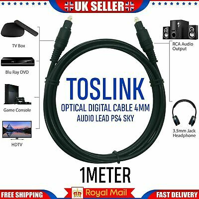 Pure TOSlink Optical Digital Audio Cable 4mm Wire Lead For TV Soundbar PS4 Sky