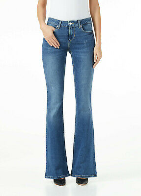 Jeans Donna Liu Jo Flare Beat Bottom Up Denim Zampa Chiari Elasticizzati Nuovi