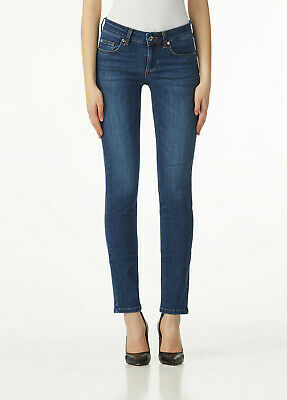 Jeans Donna Liu Jo Magnetic Denim Slim Scuri Bottom Up Elastici Blu Nuovi