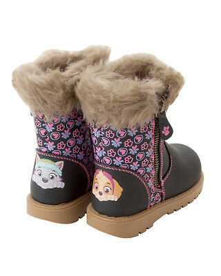 Girls Navy Paw Patrol Skye & Everest Character Flat Zip Boots Shoes Uk Size 5-10