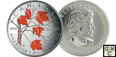 2004 Colorized Silver Maple Leaf 1oz .9999 Fine(Red Maple) 5$ Coin (11023)(OOAK)