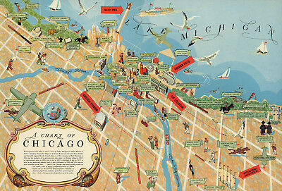 picture regarding Printable Maps of Chicago titled PICTORIAL CHICAGO CHART Map Wall Artwork Poster Print Decor Typical Heritage Repro