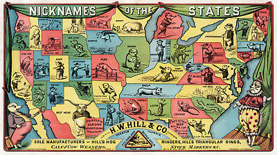 1884 Map Nicknames of the US States Wall Art Poster Print Vintage History