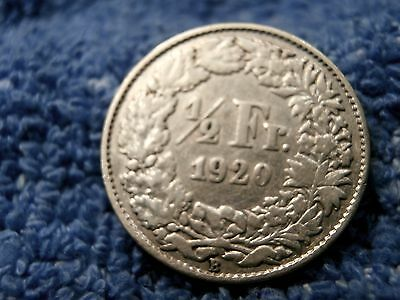 Switzerland: Scarce Silver 1/2 Franc 1920-B Extremely Fine!