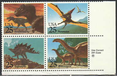 SC#2425b - 25c Prehistoric Animals Zip Block of 4 MNH