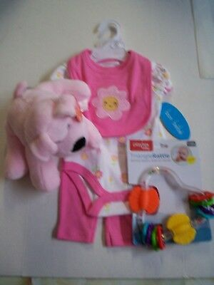 Baby Girl Gift Set, 6-9 Months, 3 Piece Outfit, Rattle, & Stuffed Puppy, Pink