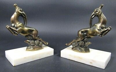French Antique ART DECO Bookends Spelter Bronzed Gazelle Marble Base Pair