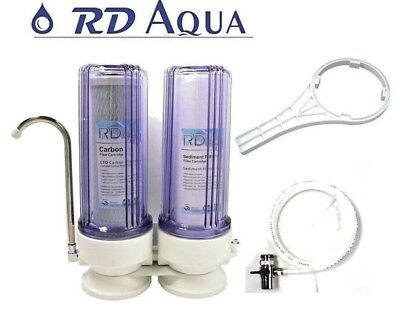 2 stage Countertop Drinking water filter Housing system; Clear