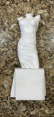 Exquisite White Alabaster or Marble Sculpture in Classical Semi-Nude Torso