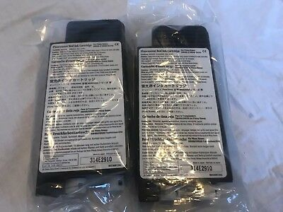 Pitney Bowes 2 pack 621-1 NEW OEM Flourescent Red Postage meter Ink Cartridges
