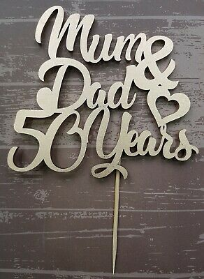MUM & DAD anniversary cake topper- any colour - any number of years WOODEN