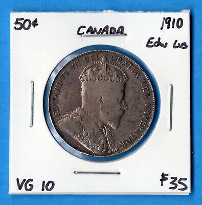 Canada 1910 Edward Leaves 50 Cents Fifty Cents Silver Coin - VG-10