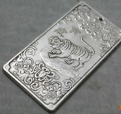 Double sided hollowing Bodhisattva statue Pendant China tibet Silver token