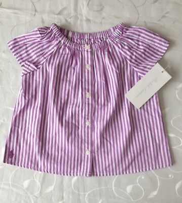 Ralph Lauren Baby Girl's Short Sleeve Striped Cotton Top(12 Monts)