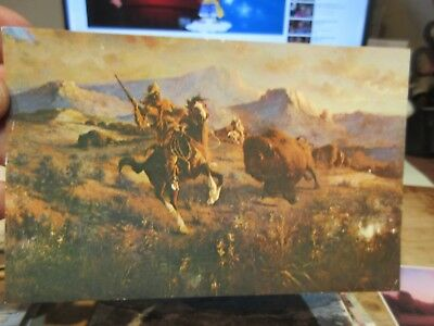 Vintage Old Postcard WYOMING Cody Buffalo Bill Hunter ES Pacson Artwork Painting