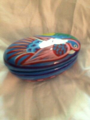 Jewelry Box Ceramic Glazed Pottery  Hand Painted Colorful Parrot Artwork 1990's