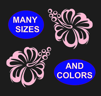 2X Hibiscus Flower Hawaiian Vinyl Decal Tropical Island Paradise Sticker Style2