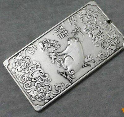 Chinese Zodiac China tibet Silver statue Waist tag thanka amulet pig token