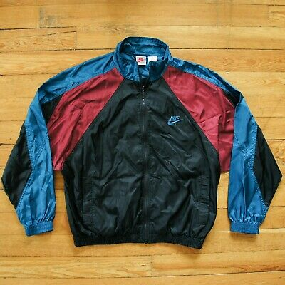 97d58929b7868 VINTAGE 90'S NIKE Windbreaker Jacket - Color Block - Maroon Teal Black -  Men's L