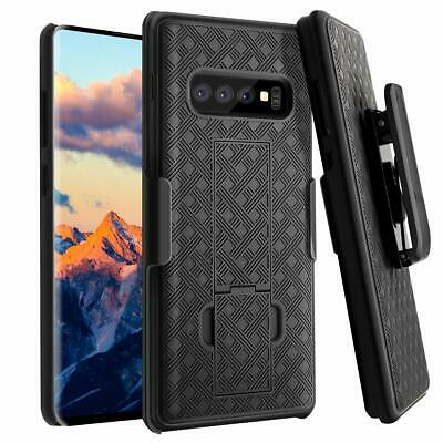 Samsung Galaxy S10 - HARD HOLSTER KICKSTAND CASE COVER w/ SWIVEL BELT CLIP BLACK