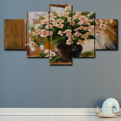 5Pcs Flower Vase Large Modern Canvas Art Wall Painting Home Room Decor Picture