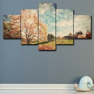 Flower Tree In Field 5Pcs Large Modern Canvas Wall Painting Home Decor Picture