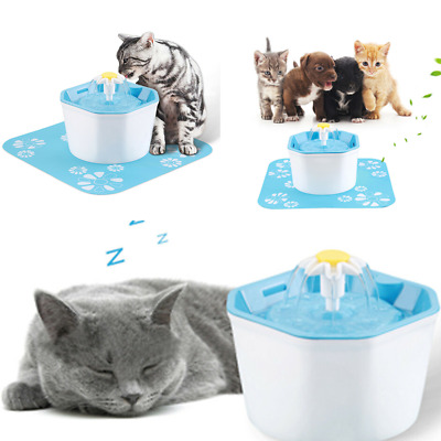 US Pet Water Fountain For Cat Dog Automatic Food Bowl Dish Feeder Dispenser New