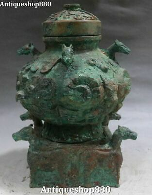 Old Bronze Ware Dragon Bull Horse Beast Ancient Container Bottle Vase Jar Pot